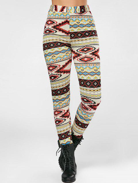 High Waisted Colorful Geometrical Print Leggings - COLORMIX L