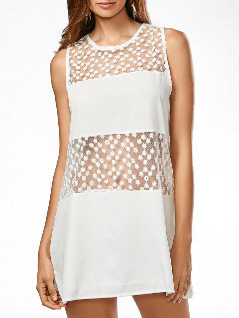 Sheer Embroidered Sleeveless Trapeze Dress