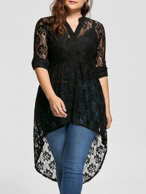 Long Sleeve High Low Lace Plus Size Top - BLACK 3XL
