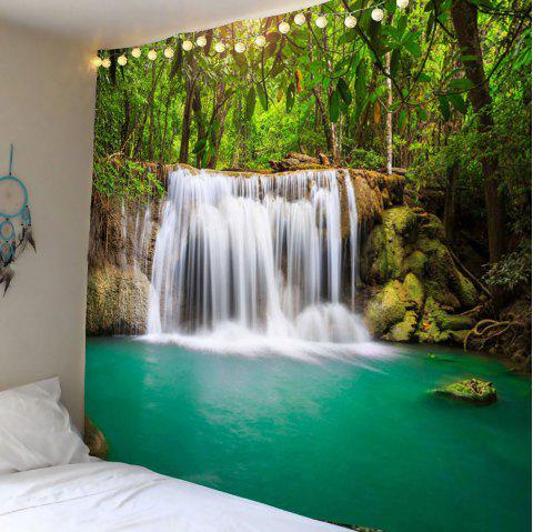 Wall Art Forest Waterfall Hanging Tapestry - GREEN W79 INCH * L71 INCH