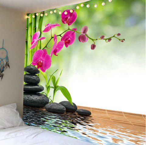 Bamboo Flowers Stones Pond Wall Tapestry - GREEN W79 INCH * L71 INCH