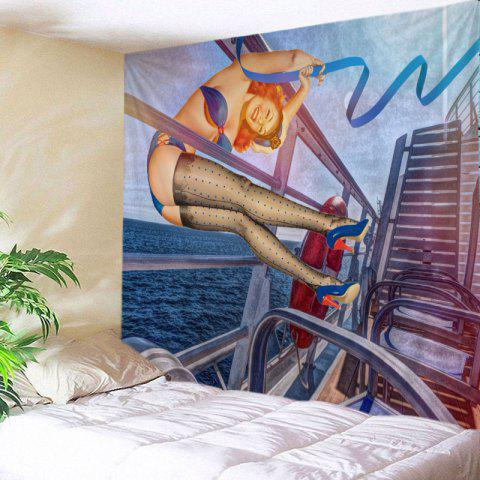 Vintage Pin-up Girl Print Tapestry Wall Hanging Art - Bleu Océan W79 INCH * L59 INCH
