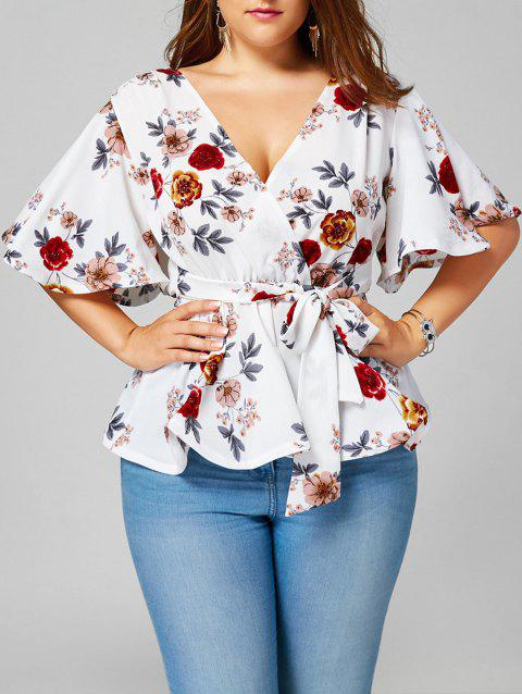 Floral Plus Size Belted Surplice Peplum Blouse - WHITE 2XL