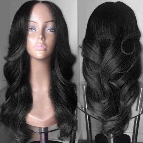 Middle Part Colormix Long Wavy Synthetic Wig - BLACK