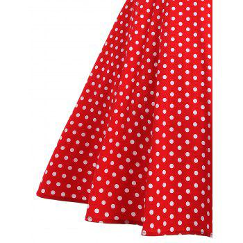 Vintage Polka Dot Buttoned Pin Up Dress - RED S