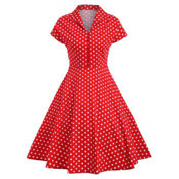 Vintage Polka Dot Buttoned Pin Up Dress