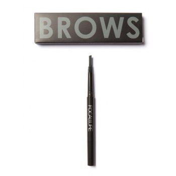 Two-Headed Waterproof Auto Brows Pencil With Brush - BLACK BLACK
