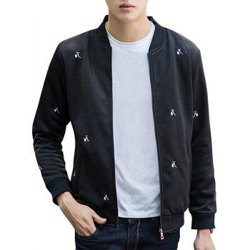 Zip Up Flower Embroidery Bomber Jacket
