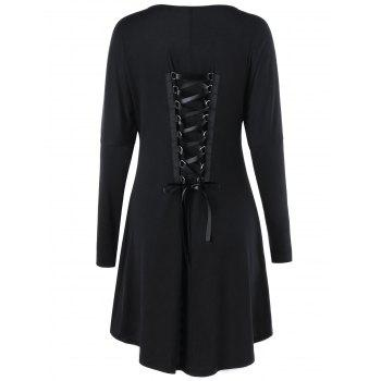 Dragon Print Lace Up Long Sleeve Dress - BLACK BLACK
