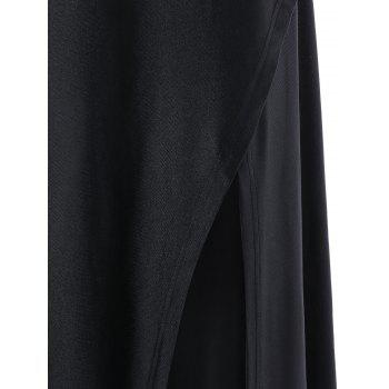 Off The Shoulder High Slit Dress - BLACK BLACK