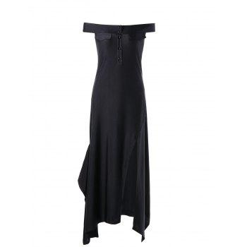 Off The Shoulder High Slit Dress - L L