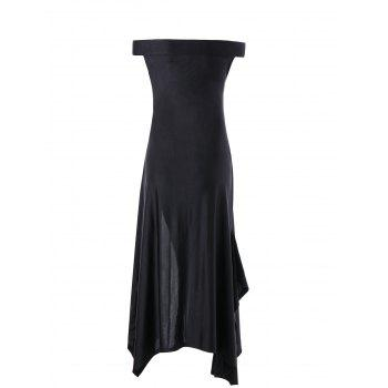 Off The Shoulder High Slit Dress - BLACK L