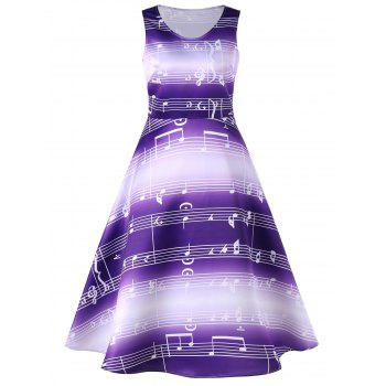 Music Notes Print Sleeveless 50s Swing Dress