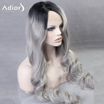 Ultra Long Side Part Gradient Body Wave Colormix Synthetic Wig - BLACK/GREY