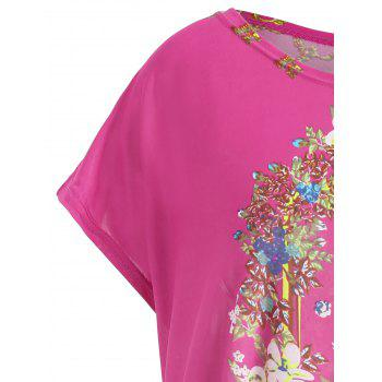 Plus Size Printed Causal Long T-shirt - ROSE RED ONE SIZE