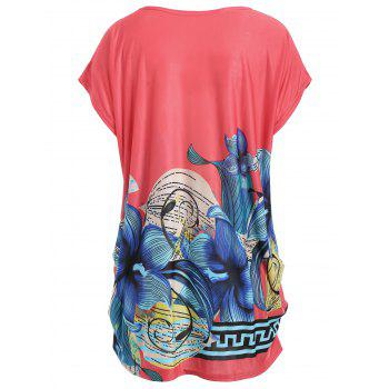 Plus Size Printed Causal Long T-shirt - BABY PINK BABY PINK