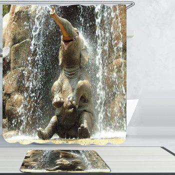 Waterproof Elephant Bath Shower Curtain Carpet Set - GRAY W79 INCH * L71 INCH