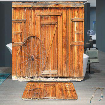 Waterproof Wheel Wooden Board Shower Curtain Rug Set