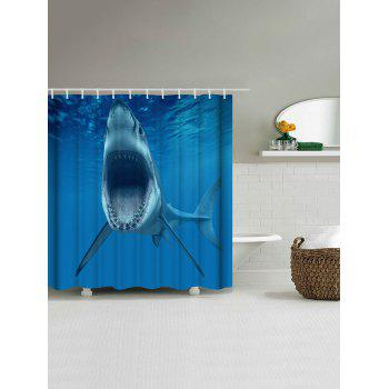 Ocean Shark Water Resistant Fabric Shower Curtain - OCEAN BLUE W71 INCH * L79 INCH