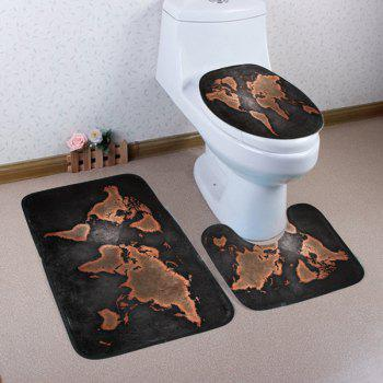 World Map Pattern 3 Pcs Bathroom Toilet Mat - DUN DUN