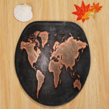 World Map Pattern 3 Pcs Bathroom Toilet Mat -  DUN