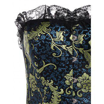 Plus Size Jacquard Lace Panel Corset - DEEP BLUE DEEP BLUE
