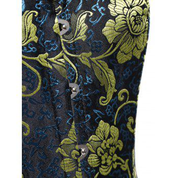 Plus Size Jacquard Lace Panel Corset - DEEP BLUE 4XL