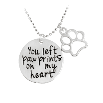 Round Engraved Heart Claw Footprint Necklace