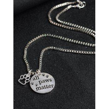 Round Engraved Paws Footprint Pendant Necklace -  SILVER
