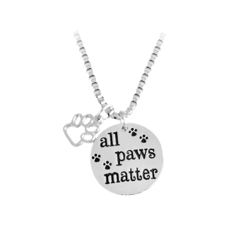 Round Engraved Paws Footprint Pendant Necklace - SILVER SILVER
