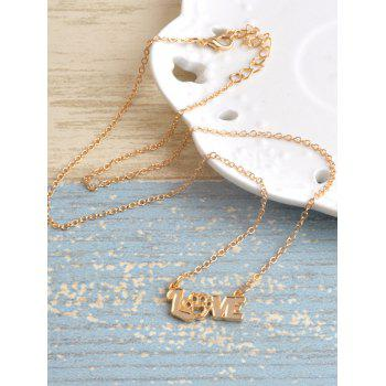 Love Heart Claw Footprint Pet Necklace -  GOLDEN