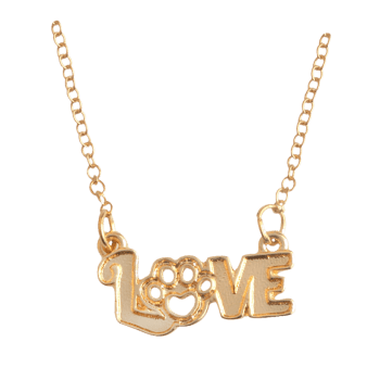 Love Heart Claw Footprint Pet Necklace - GOLDEN GOLDEN