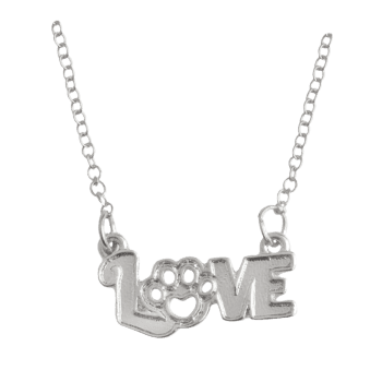 Love Heart Claw Footprint Pet Necklace - SILVER SILVER
