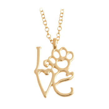 Love Heart Paw Footprint Pet Necklace - GOLDEN GOLDEN