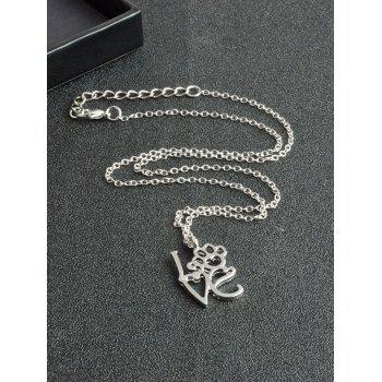 Love Heart Paw Footprint Pet Necklace -  SILVER