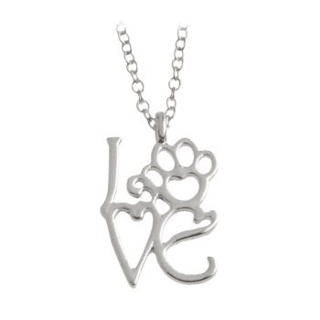 Love Heart Paw Footprint Pet Necklace - SILVER SILVER