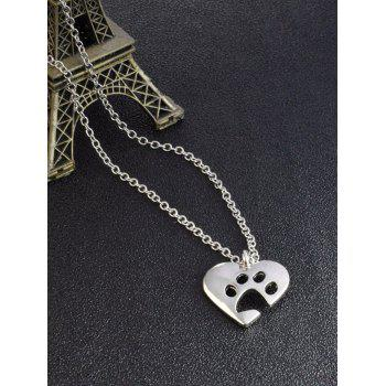 Cute Heart Claw Footprint Pendant Necklace -  SILVER
