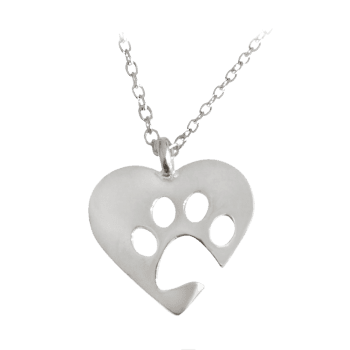 Cute Heart Claw Footprint Pendant Necklace - SILVER SILVER