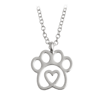Heart Claw Footprint Pet Pendant Necklace - SILVER SILVER