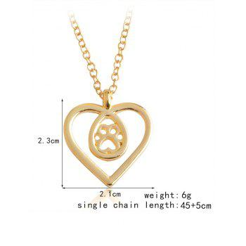 Heart Teardrop Claw Footprint Necklace -  GOLDEN