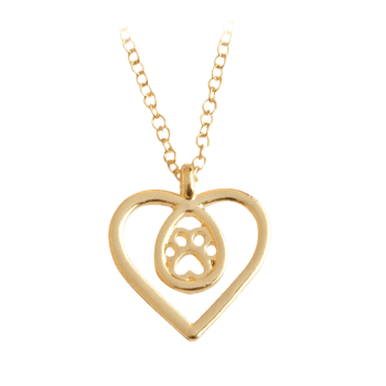 Heart Teardrop Claw Footprint Necklace - GOLDEN GOLDEN