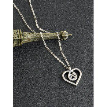 Heart Teardrop Claw Footprint Necklace -  SILVER