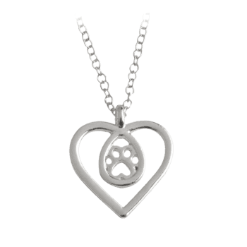 Heart Teardrop Claw Footprint Necklace - SILVER SILVER