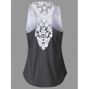 Printed Lace Insert Ombre Tank Top - L L