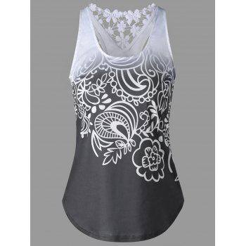 Printed Lace Insert Ombre Tank Top - MOUSE GREY MOUSE GREY
