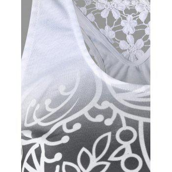 Printed Lace Insert Ombre Tank Top - MOUSE GREY 2XL