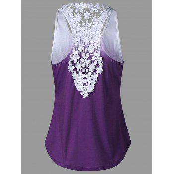 Printed Lace Insert Ombre Tank Top - PURPLE PURPLE
