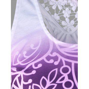 Printed Lace Insert Ombre Tank Top - PURPLE L