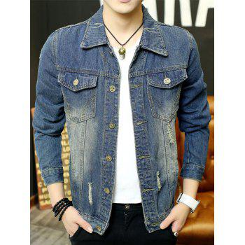 Distressed Button Up Chest Pocket Denim Jacket - DENIM BLUE 2XL
