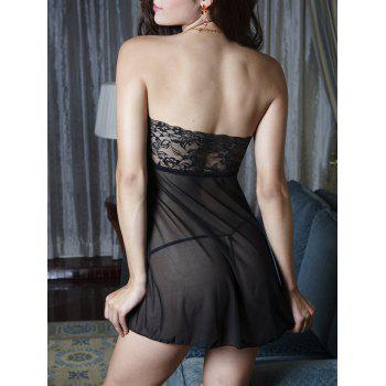 Mesh Sheer Strapless Lingerie Dress - ONE SIZE ONE SIZE
